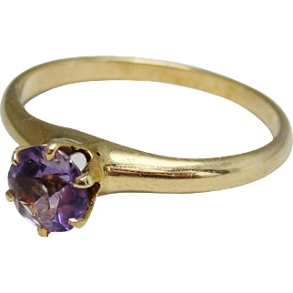 Antique 14K Gold Genuine Amethyst Quartz Ring Size 6.25 With Maker's Mark