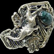 Amazing 70's Studio Bracelet Sterling Silver Sodalite Dragon Brutalist Gothic