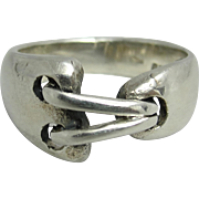 Industrial Modernist Sterling Silver Link Ring Size 7.25