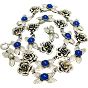 Art Deco Italian 800 Silver Rose Garland Necklace Cobalt Glass