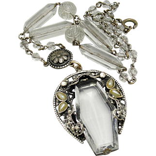 Art Deco Ornate Czech Necklace Clear Glass Carved Bead Filigree