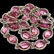 Art Deco Bezel Set Sterling Silver Pink Crystal Czech Glass Necklace