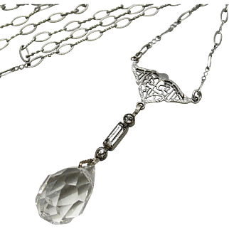 1920's Art Deco Rhodium Filigree Clear Crystal Glass Lavaliere Necklace