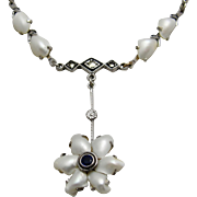 1920's Exquisite Sterling Silver Necklace Dogtooth Pearls Blue Crystal Marcasites