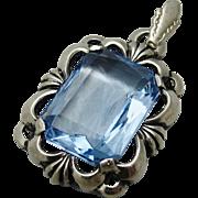 Art Deco European 800 Silver Blue Crystal Pendant