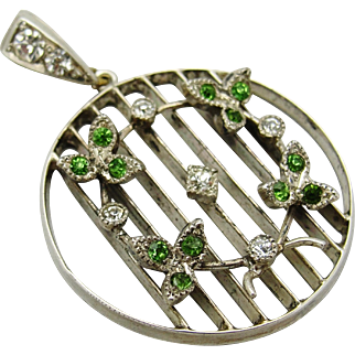 c1910 Antique Sterling Silver Peridot & Clear Paste Pendant
