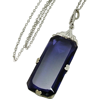 1920's Art Deco Sterling Silver Purple Glass Necklace Pendant and Chain