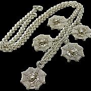 c1900 Art Nouveau Sterling Silver Figural Spider Web Necklace