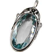 Art Deco Sterling Silver Aquamarine Blue Paste Glass Pendant