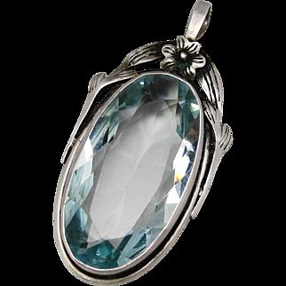 Art Deco Sterling Silver Aquamarine Blue Paste Glass Pendant