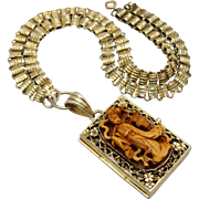 Rare Chinese Export China Silver Gilt Filigree Carved Figural Posion Locket Bookchain Necklace