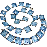 rare Art Deco Sterling Silver Blue Foil Glass Necklace Bracelet Set