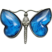 Art Nouveau Deco English Morpho Butterfly Wing Brooch Sterling Silver Glass