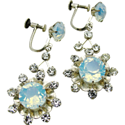 Japan Silver Opalescent Blue Glass & Rhinestone Earrings