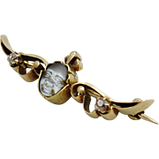Antique 14K Gold Man in the Moon Carved Moonstone Diamonds Winged Genie Face Brooch c1900