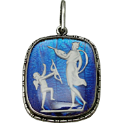 Art Deco Butterfly Wing Sterling Silver Cupid Psyche Pendant Sulphide Cameo