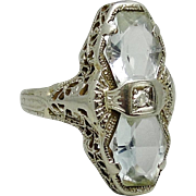 Art Deco 14K White Gold Aquamarine Diamond Filigree Ring 4.5