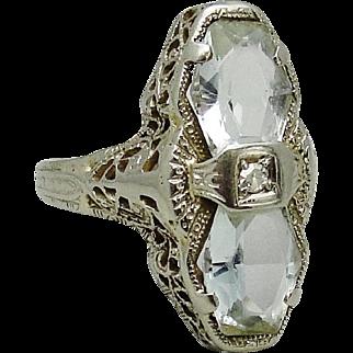 Art Deco 14K White Gold Aquamarine Diamond Filigree Ring 4.5