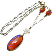 Art Deco Sterling Silver Dragon's Breath Opal Art Glass Necklace