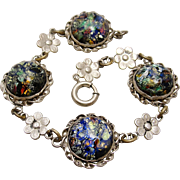 Art Deco Sterling Silver Foil Opal Art Glass Bracelet
