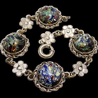 Art Deco Sterling Silver Foil Opal Art Glass Bracelet