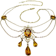 Antique Edwardian Festoon Necklace Gold Topaz Crystal River Pearl