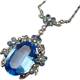 English Sterling Silver Sapphire Blue Crystal Marcasite Necklace