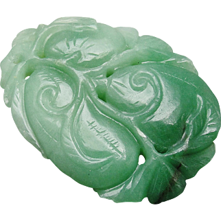 Carved Chinese Green Aventurine Pendant Panel Large