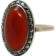 9CT Gold Art Deco Red Jade Engraved Sterling Silver Ring Marcasites Size 7