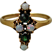 Antique 14K Gold Demantoid Garnet Opal Ring 7.5