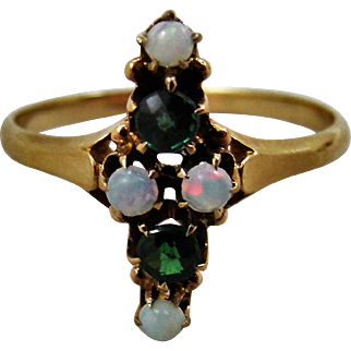 Antique 14K Gold Demantoid Garnet Opal Ring 7.5