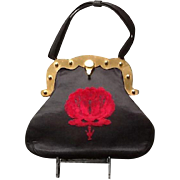 VIntage Roberta di Camerino Handbag with Rose Velvet FLower