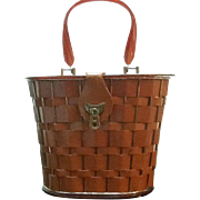 Unusual Vintage Dorset Rex Leather Cage Bag with Lucite Lid