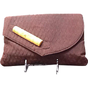 VIntage `1940's Deco Clutch with Large Bakelite Accent