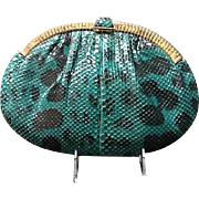 """Vintage Leiber Patterned Python Large Handbag with Gold Tone """"Gate"""" Frame"""