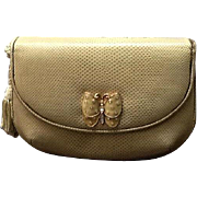 VIntage Leiber Karung Snakeskin Purse with Ornamental Butterfly