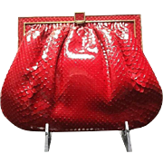 VIntage Statement Red Python Purse by Colombetti- Never Worn