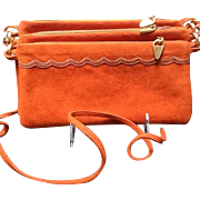"Vintage Leiber ""Hot"" Tangerine ""Triple"" Suede Purse"