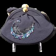 "VIntage Midnight Blue ""Peacock"" Sequin Evening Bag"