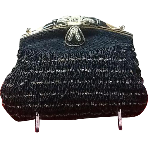Vintage Beaded and Enameled French Evening Bag from ...