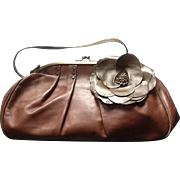 VIntage Jamin Puech Large Leather Handbag with Floral Accent