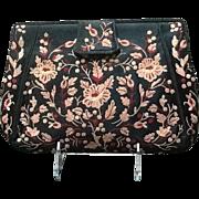 VIntage Koret  Tambour Stitched Embroidered Silk Evening Clutch