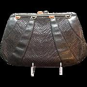 Vintage Leiber Large Karung Lizard Handbag with Jeweled Frame