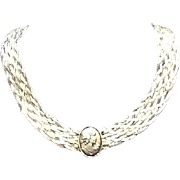 VIntage Sterling Choker Necklace by Milor with Silver Cameo