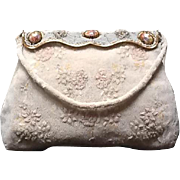 VIntage French Beaded Evening Bag with Porcelain Medallions