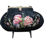 Vintage French Silk Embroidered Evening Purse with Ornate Frame *** Near MINT***