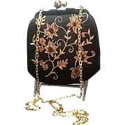 VIntage Judith Leiber Satin Evening Purse with Embroidery and Beading ***Never Worn***