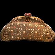 Vintage Silk Brocade Purse with Jeweled Clasp