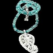 Vintage Lagerfeld Sautoir Glass Necklace with Pique-a-Jour Pendant
