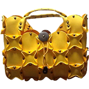 """Vintage Jamin Puech """"Outrageous"""" Studded Yellow Neoprene Tote Bag"""